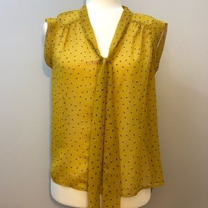 Yellow tie neck floral blouse